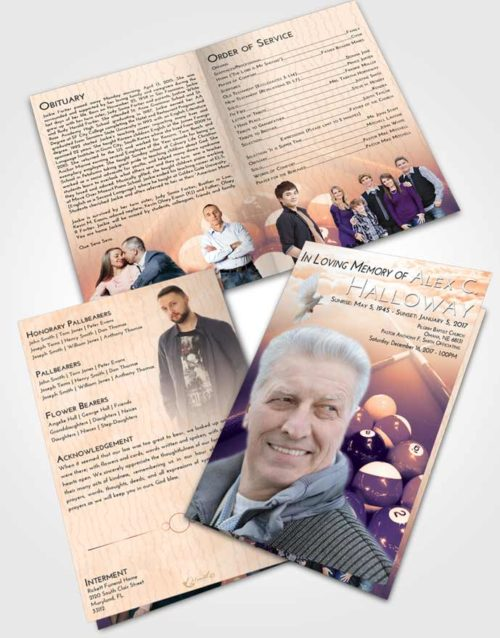Bifold Order Of Service Obituary Template Brochure Lavender Sunset Billiards Rack