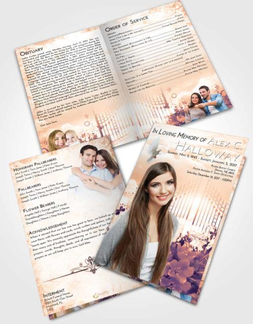 Bifold Order Of Service Obituary Template Brochure Lavender Sunset Flowery Gates to Heaven