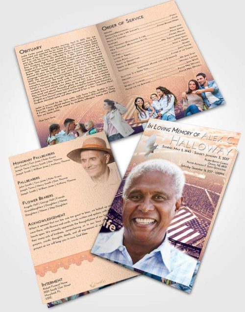 Bifold Order Of Service Obituary Template Brochure Lavender Sunset Football Stadium