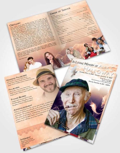 Bifold Order Of Service Obituary Template Brochure Lavender Sunset Hockey Paradise