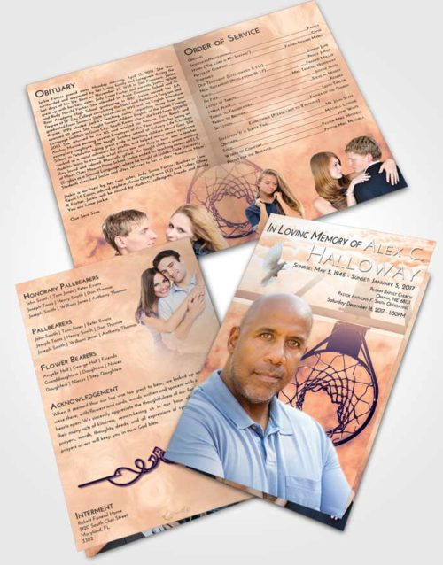 Bifold Order Of Service Obituary Template Brochure Lavender Sunset In the Hoop