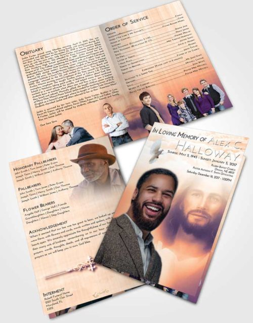 Bifold Order Of Service Obituary Template Brochure Lavender Sunset Jesus in Heaven