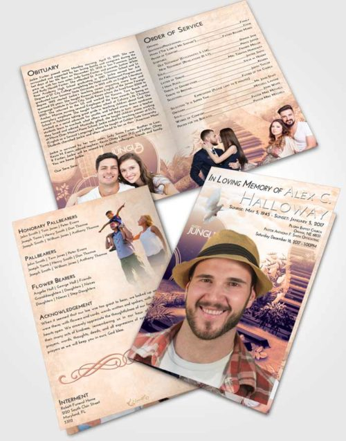 Bifold Order Of Service Obituary Template Brochure Lavender Sunset Jungle Music