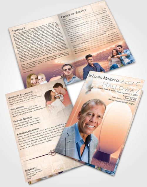 Bifold Order Of Service Obituary Template Brochure Lavender Sunset Rugby Honor