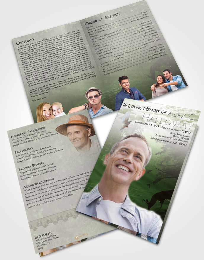 Bifold Order Of Service Obituary Template Brochure Loving Deer Hunt