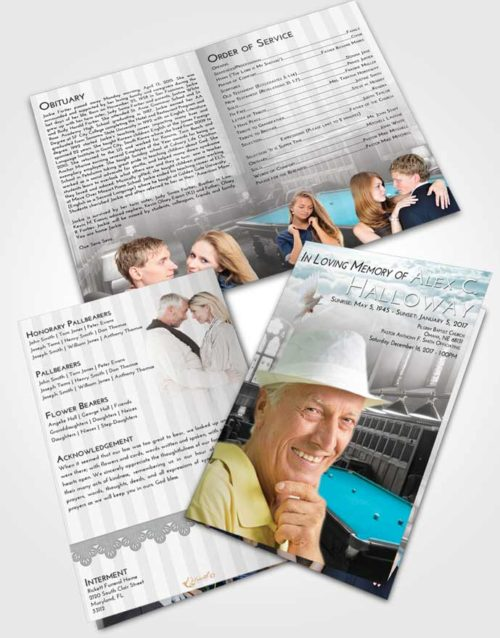 Bifold Order Of Service Obituary Template Brochure Loving Embrace Billiards Journey