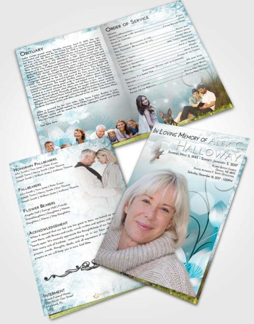 Bifold Order Of Service Obituary Template Brochure Loving Embrace Floral Peace