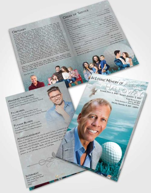 Bifold Order Of Service Obituary Template Brochure Loving Embrace Golf Serenity