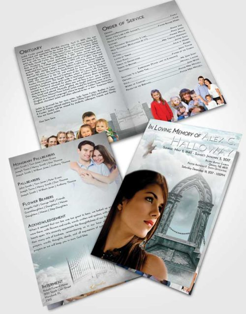 Bifold Order Of Service Obituary Template Brochure Loving Embrace Heavens Path