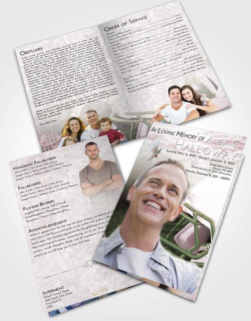 Bifold Order Of Service Obituary Template Brochure Morning Football Party