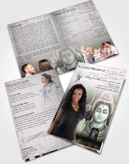 Bifold Order Of Service Obituary Template Brochure Morning Lord Shiva Dignity