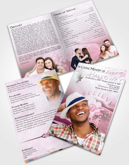 Bifold Order Of Service Obituary Template Brochure Pink Faith Bible Belief