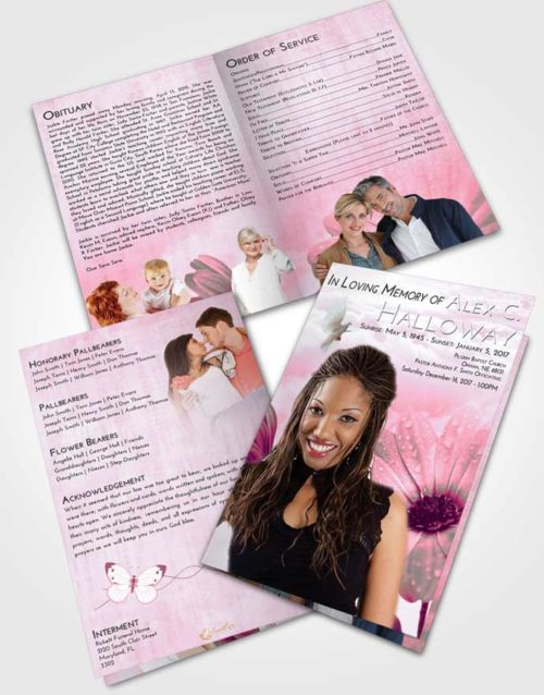 Bifold Order Of Service Obituary Template Brochure Pink Faith Floral Raindrops