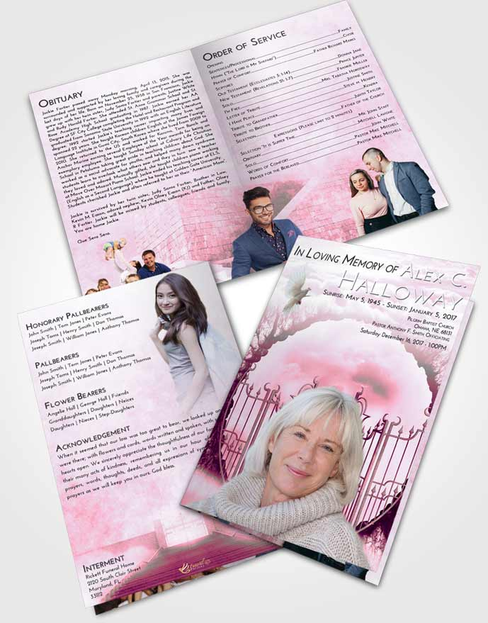 Bifold Order Of Service Obituary Template Brochure Pink Faith Mystical Gates of Heaven
