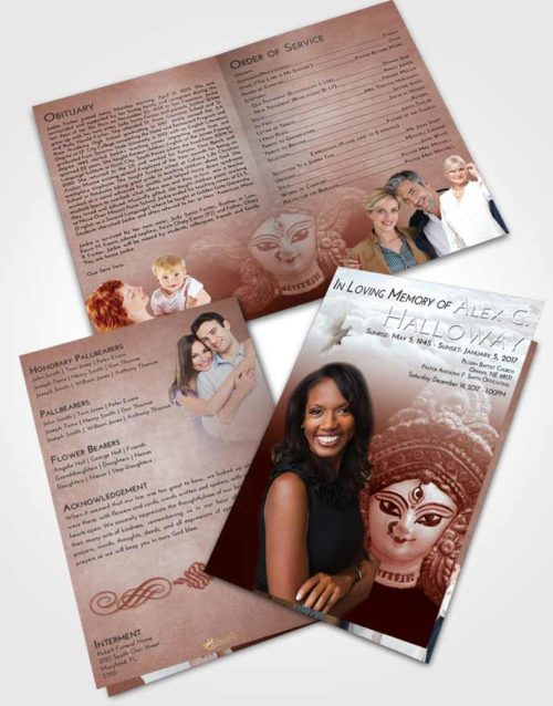 Bifold Order Of Service Obituary Template Brochure Ruby Love Durga Surprise