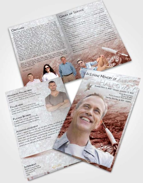 Bifold Order Of Service Obituary Template Brochure Ruby Love Fishing on the Rocks