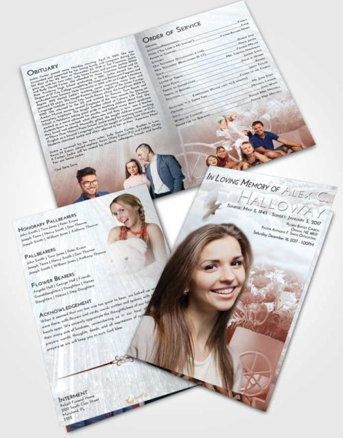 Bifold Order Of Service Obituary Template Brochure Ruby Love Rose Love