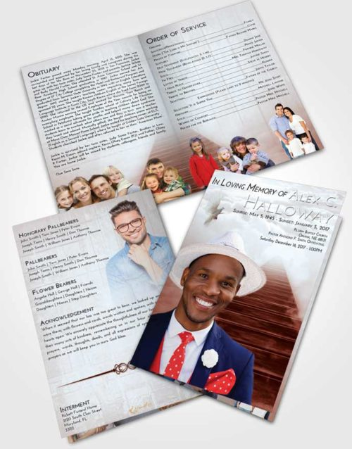 Bifold Order Of Service Obituary Template Brochure Ruby Love Stairway to Eternity