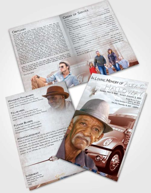 Bifold Order Of Service Obituary Template Brochure Ruby Love Trucker Hours
