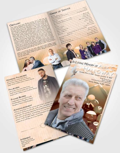 Bifold Order Of Service Obituary Template Brochure Soft Dusk Billiards Rack