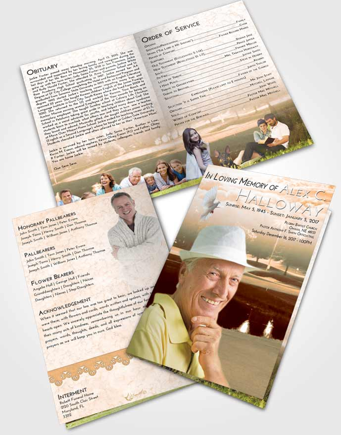 Bifold Order Of Service Obituary Template Brochure Soft Dusk Golf Paradise