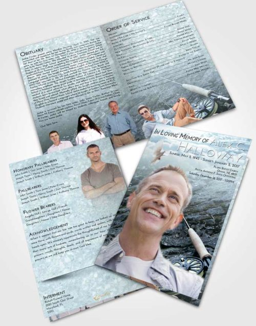 Bifold Order Of Service Obituary Template Brochure Soft Emerald Love Fishing on the Rocks