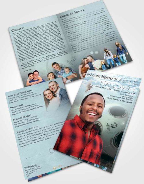 Bifold Order Of Service Obituary Template Brochure Soft Emerald Love Soccer Miracle