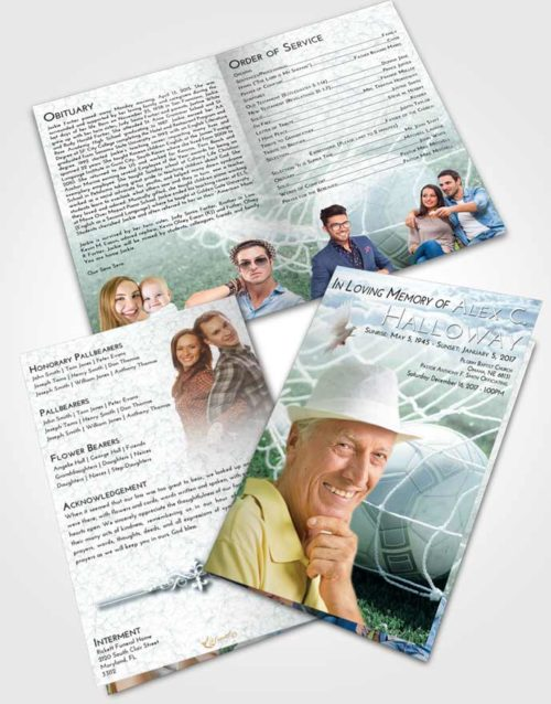 Bifold Order Of Service Obituary Template Brochure Soft Emerald Love Soccer Pride