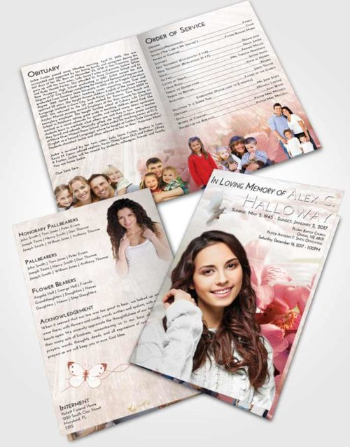 Bifold Order Of Service Obituary Template Brochure Strawberry Love Floral Magic