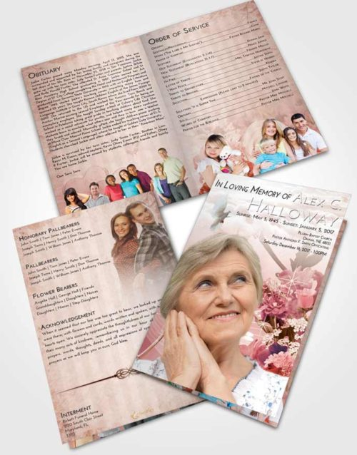 Bifold Order Of Service Obituary Template Brochure Strawberry Love Floral Wonderland