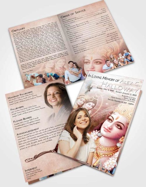 Bifold Order Of Service Obituary Template Brochure Strawberry Love Hindu Majesty