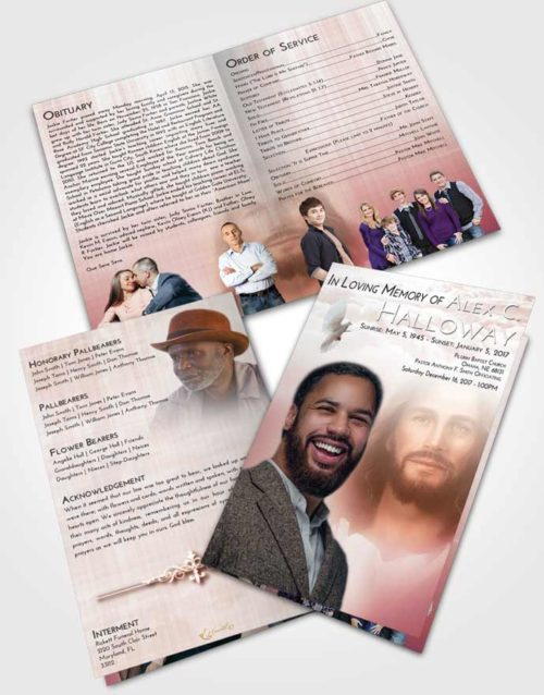 Bifold Order Of Service Obituary Template Brochure Strawberry Love Jesus in Heaven