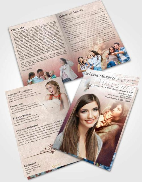 Bifold Order Of Service Obituary Template Brochure Strawberry Love Mary and Jesus