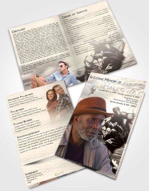 Bifold Order Of Service Obituary Template Brochure Tranquil Boxing Animation