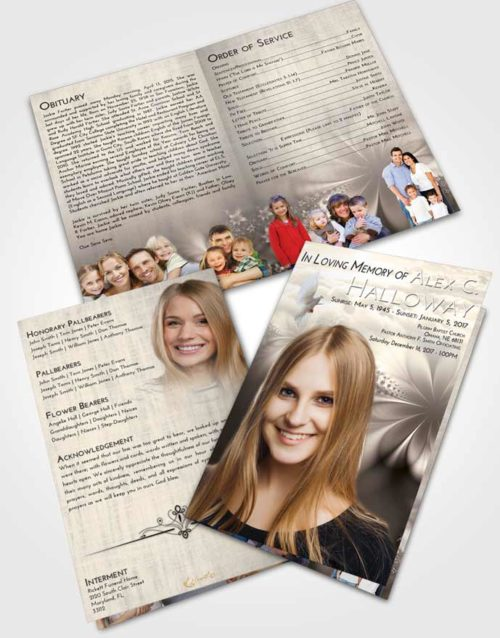 Bifold Order Of Service Obituary Template Brochure Tranquil Floral Lust