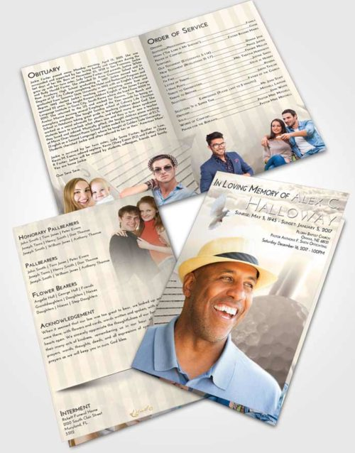 Bifold Order Of Service Obituary Template Brochure Tranquil Golf Day