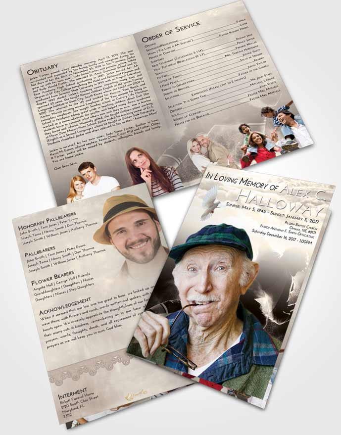 Bifold Order Of Service Obituary Template Brochure Tranquil Hockey Paradise