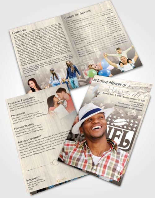 Bifold Order Of Service Obituary Template Brochure Tranquil NFL Star