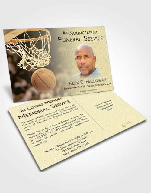Funeral Announcement Card Template At Dusk Basketball Swish