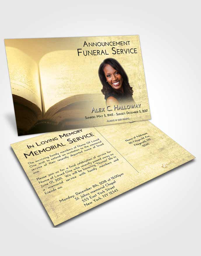 Funeral Announcement Card Template At Dusk Bible Faith