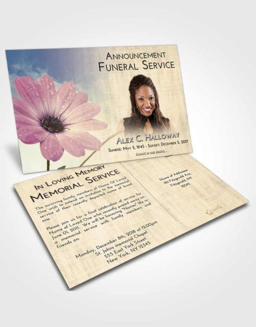 Funeral Announcement Card Template At Dusk Floral Raindrops