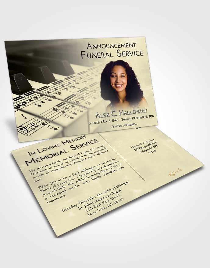 Funeral Announcement Card Template At Dusk Piano Desire