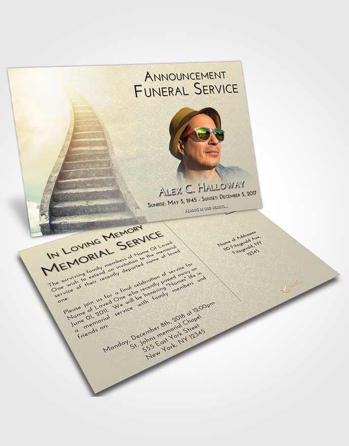 Funeral Announcement Card Template At Dusk Stairway to Bliss