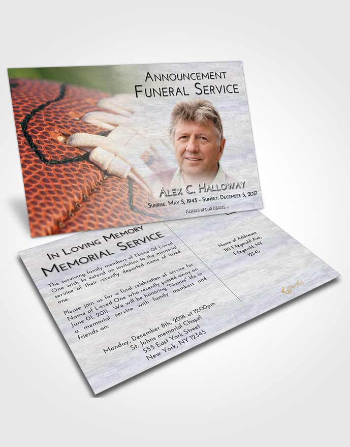 Funeral Announcement Card Template Early Football Life