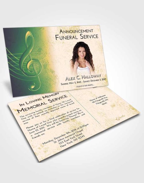 Funeral Announcement Card Template Emerald Serenity Allegro