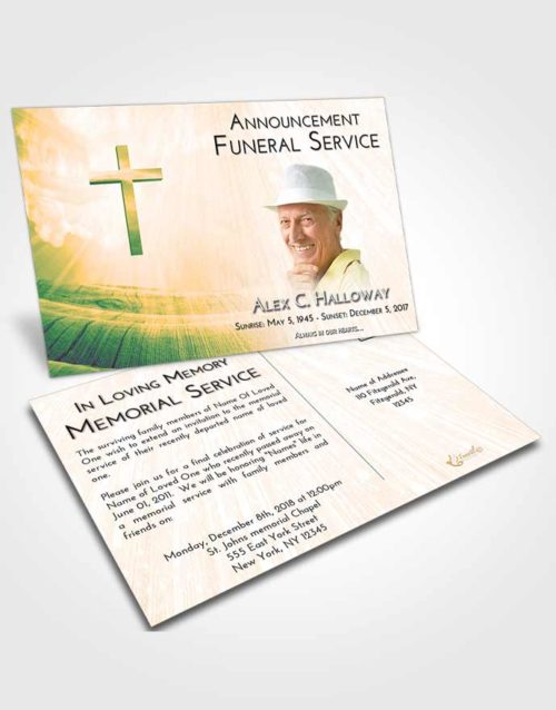 Funeral Announcement Card Template Emerald Serenity The Cross of Life