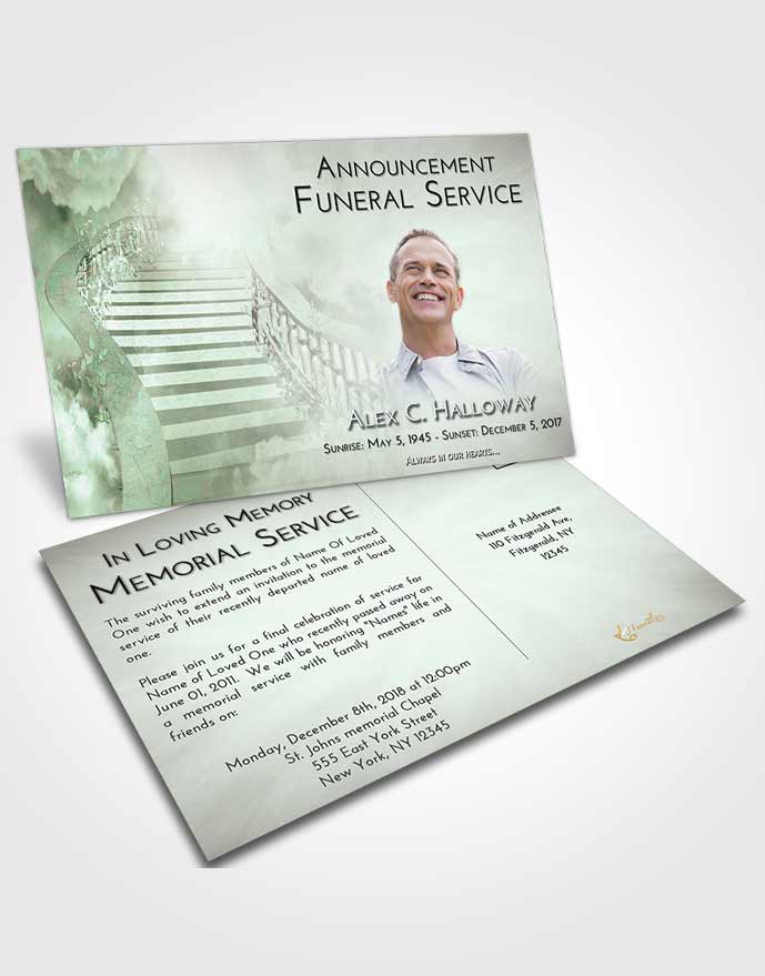 Funeral Announcement Card Template Emerald Sunrise Stairway to Freedom