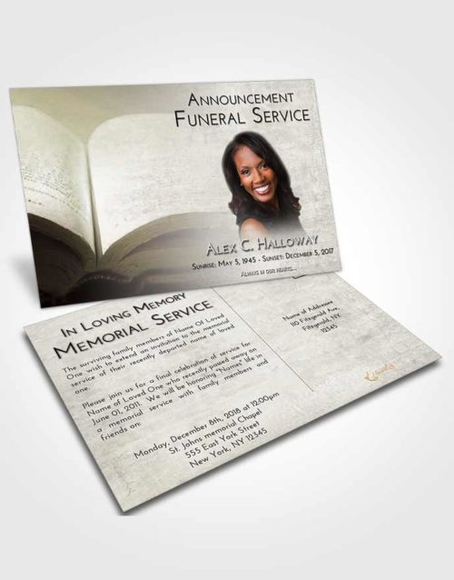 Funeral Announcement Card Template Evening Bible Faith