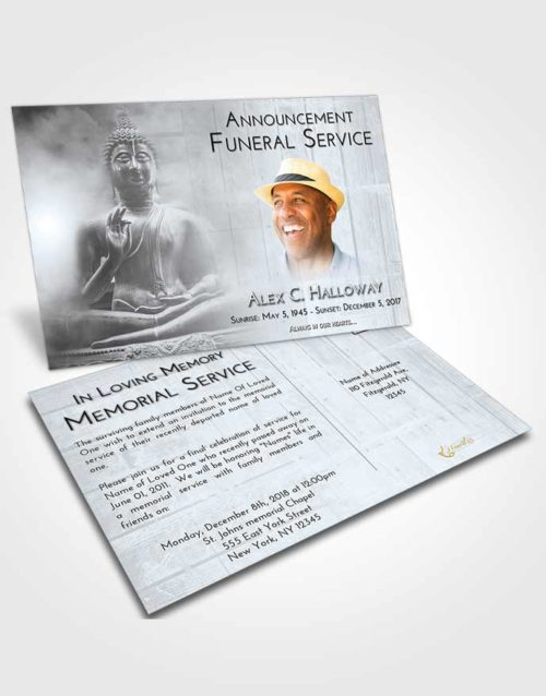Funeral Announcement Card Template Freedom Buddha Desire