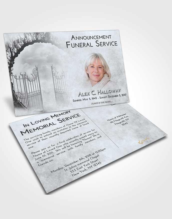 Funeral Announcement Card Template Freedom Mystical Gates of Heaven